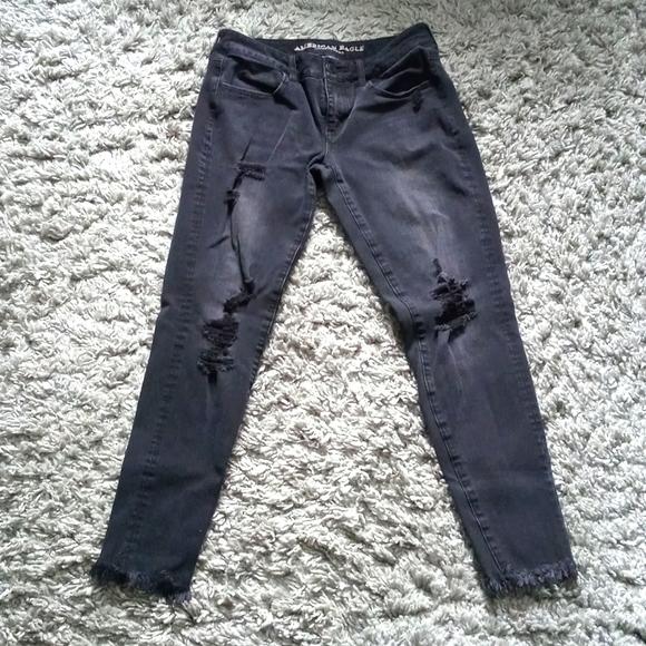 American Eagle Ripped Skinny Jeans Stretch X EUC 6